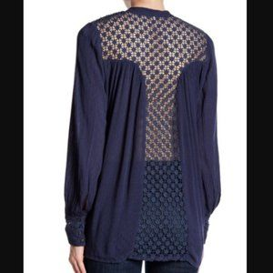 Free People The Best Button Front Lace Back Blouse